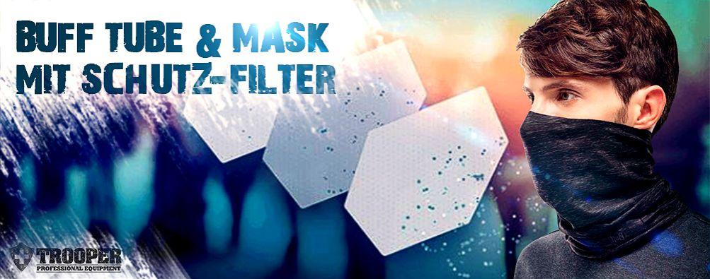 COVID-Schutzmaske zertifizierter Filter im BUFF Schlauchschal Tube
